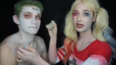 女子扮成哈莉奎茵为男友化妆, 将他美妆成了小丑模样!