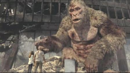 大战后的巨猿装死调戏巨石强森, 一个手势让巨石脸红