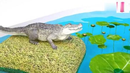 幼儿色彩启蒙: 3D鳄鱼不吃鱼和冰淇淋却要吃草莓香蕉与彩椒