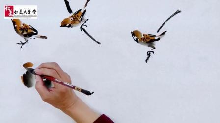 正面麻雀的画法简单又不费笔墨, 画出来也太惊艳了吧!