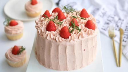 草莓奶油蛋糕 试了试戚风预拌粉 戚风也可以不用分蛋啦