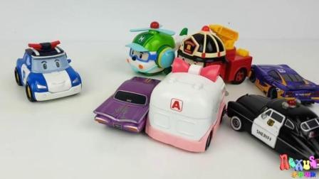 【变形警车珀利2018】学习英文颜色超级飞侠迪士尼汽车玩具警车珀利