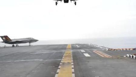 实拍F-35B隐形战斗机降落瞬间 一小块地就够了!