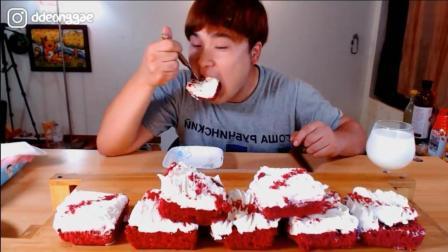 韩国大胃王豪放派, 吃奶油蛋糕, 一次吃这么多, 难道不腻吗?