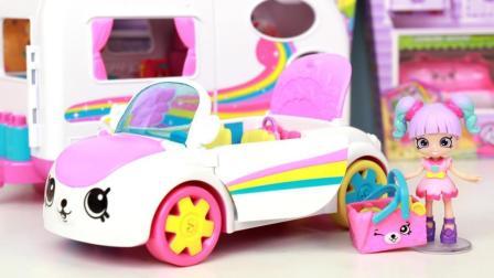 趣盒子玩具 第一季 购物小能手彩红敞篷跑车分享 shopkins最新彩虹海滩度假玩具