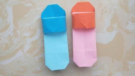 静静私橱: 简单的儿童折纸凉拖鞋, 小朋友都能学会!