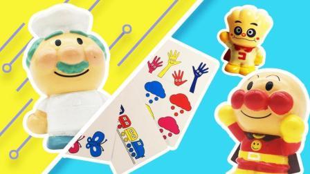 月采面包超人玩具 红豆面包超人果酱爷爷抽纸牌教奶油小弟认识颜色
