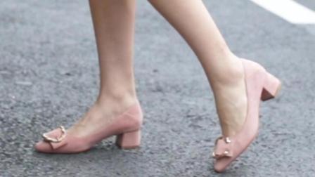 卓诗尼粉红粗跟玛丽珍鞋