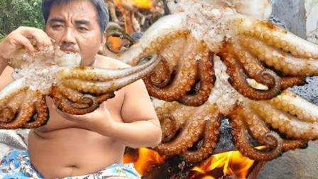 大叔食欲真好, 河边石板烤八爪鱼, 一个人吃得津津有味