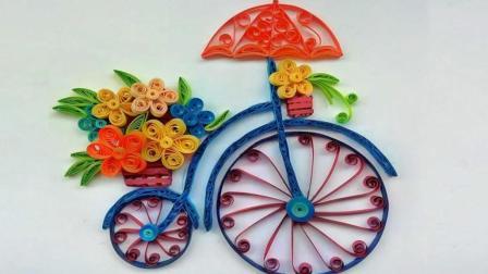 """创意贴画DIY, 教你学会""""花束自行车艺术画""""的粘贴制作方法"""