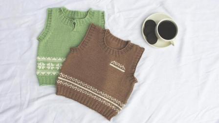 【北冰洋】2/2集--文艺儿童提花背心 乖诺诺原创新生儿羊毛毛衣视频教程