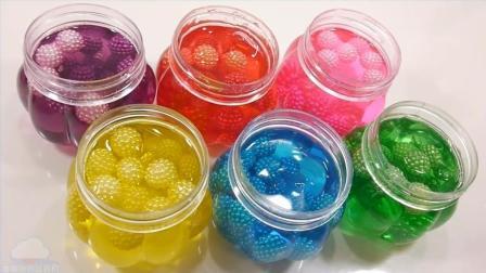 混合果冻粘液液球粘土学习颜色粘液玩具