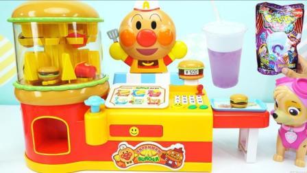 面包超人汉堡贩卖机会变色的果冻食玩饮料