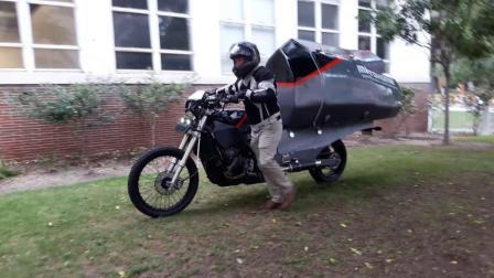 大学生发明摩托车房车, 能住2个人, 打算穿越南美洲, 不怕翻车么