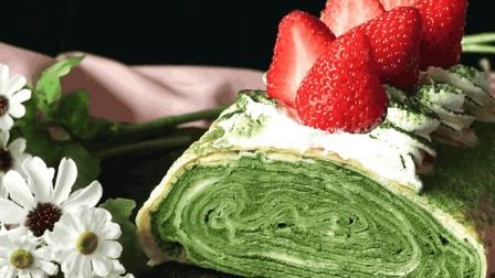 浓郁香甜 奶油抹茶草莓卷