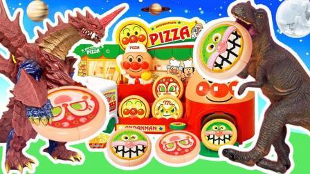 怪兽破坏披萨店 恐龙吃糖果变大