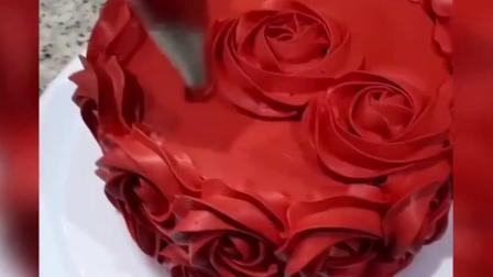 牛人制作结婚蛋糕, 玫瑰红色调太好看了!
