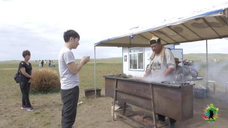 烤羊肉串, 15元一串! 在大草原上, 吃正宗的烤羊肉串, 味道真不错