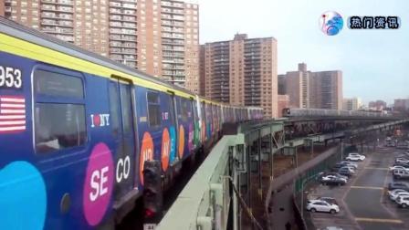 实拍美国纽约地铁, 这吵杂音真是太大了! 怎么就不维护或更新下了