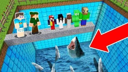 我的世界: 怪物学院 最高处大战鲨鱼 动画短片