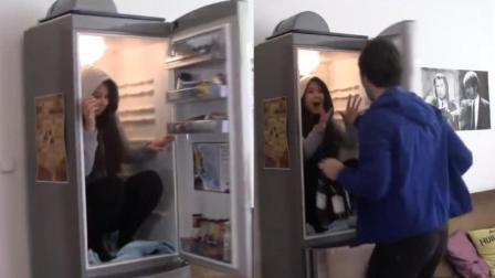 漂亮小姐姐躲冰箱, 男友被吓哭了~