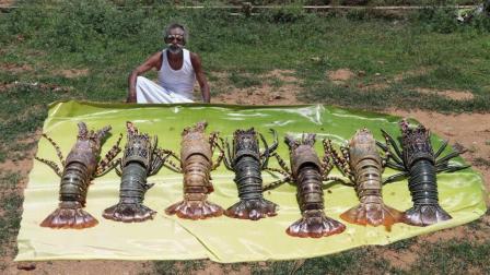 印度土豪老大爷, 拿来几只大龙虾, 看看他是什么吃法, 吃得真香