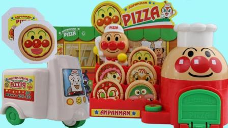 日本进口面包超人PIZZA外卖店玩具 小猪佩奇叫外卖 超美味的PIZZA
