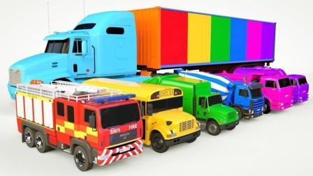 大卡车运来很多不同类型的工程车小汽车玩具