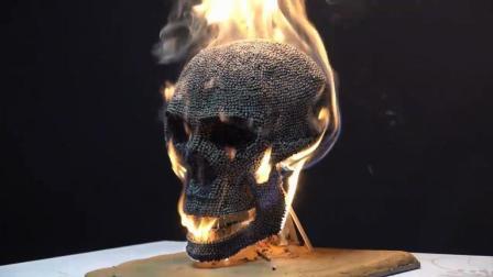 10000根火柴制作的骷髅头, 点燃之后酷毙了!
