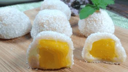 一款超简单懒人甜品, 芒果糯米糍, 软糯香甜, 孩子直接吃了一盘子