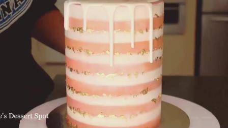 国外牛人制作金箔蛋糕, 最后鲜花装饰是点睛之笔!