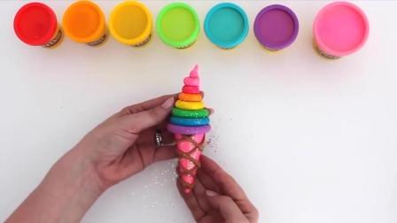 手工DIY玩具, 橡皮泥玩具: 一起动手, 做一个超大的七彩甜筒冰激凌吧