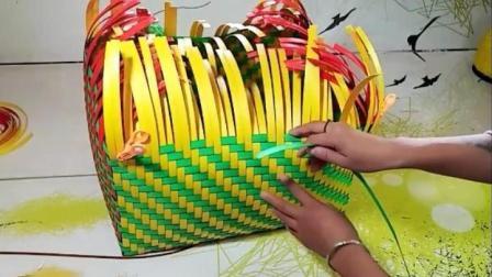 在城里花钱都学不到的居家长方形收纳筐打包带编织教程