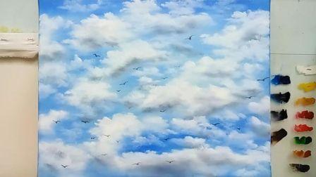 《蓝天白云》基础油画教程示范,疯油画TV系列27