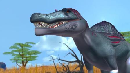 食肉棘背龙激战剑龙 恐龙动漫特效