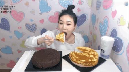 大胃王卡妹吃两个千层蛋糕, 还得再喝点牛奶压压惊