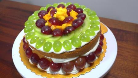 自制水果蛋糕, 一个超简单的做法, 不用裱花, 保证蛋糕柔软蓬松