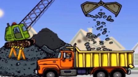挖掘机工作视频表演大全 挖土机 推土机 吊车 大卡车 汽车总动员动画片 火柴人开大吊车
