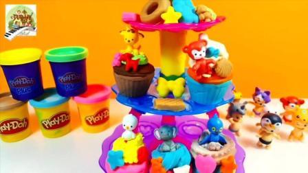 用橡皮泥做成大蛋糕玩具太棒了
