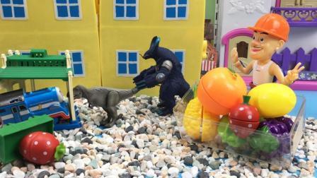 托马斯小火车遇到被困的小恐龙找怪兽来帮忙