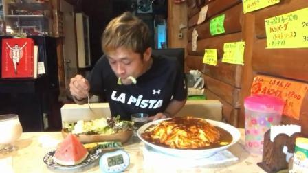 日本大胃王, 吃超大份的蛋包饭, 水果蔬菜拼盘, 限时吃完免费