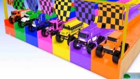 儿童卡通玩具汽车 汽车玩具动画 色彩认识 白色汽车染色 彩色汽车玩具动画