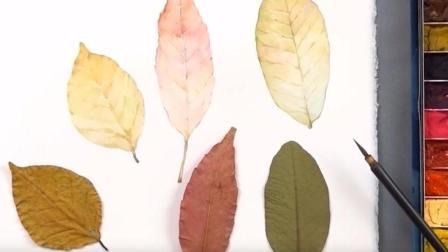 【水彩画教程】萧萧落叶送寒声 水彩秋叶 绘制过程