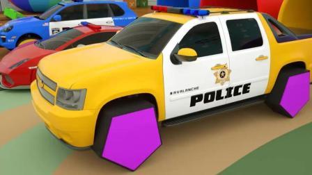 儿童学习形状名称 卢卡斯和他的警车玩具视频