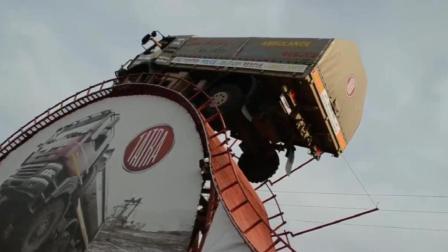 国外牛人开卡车, 这技术真不是一般人能有的!