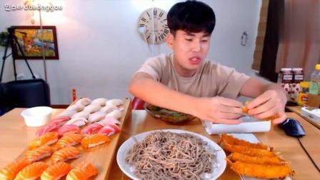 韩国吃播大胃王豪放派donkey哥哥吃冷荞麦面, 寿司炸虾和章鱼丸子