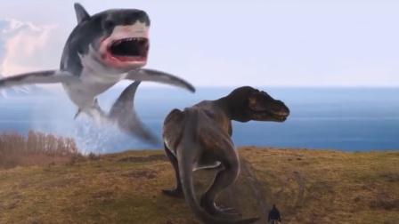 鲨卷风6巨齿鲨吃掉霸王龙