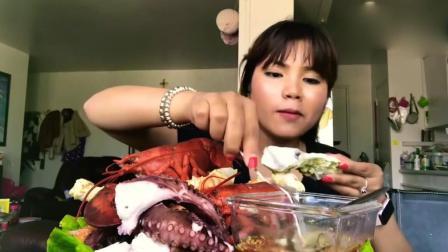 越南大姐吃大龙虾和八爪鱼, 美味可口又耐嚼, 味道好得很