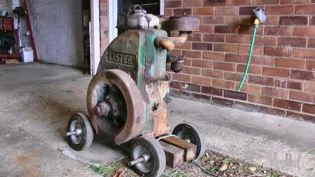 老外不知从哪里淘来一台废弃老古董, 飞轮都锈死