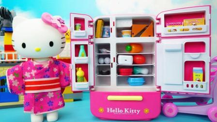 凯蒂猫韩版玩具 二合一功能的豪华冰箱